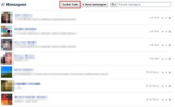 como apagar todas as mensagens do messenger