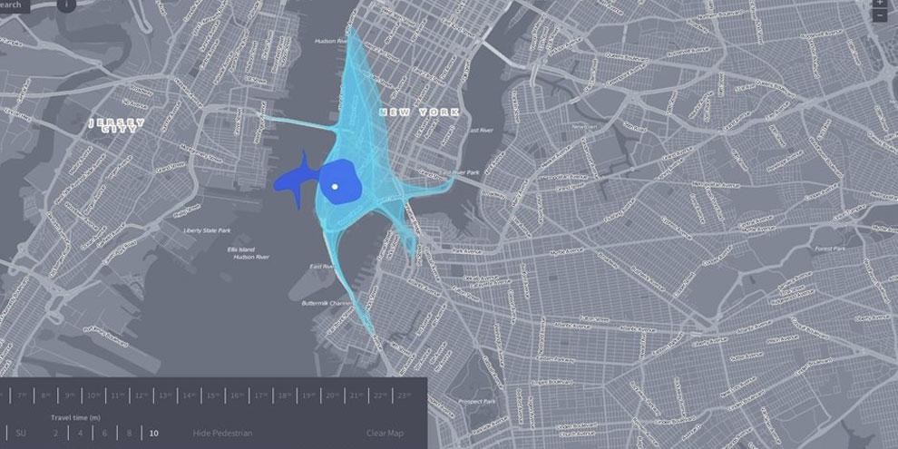 Imagem de Conheça o Isoscope, mapa que mostra até onde você pode ir em até 10 minutos no site TecMundo