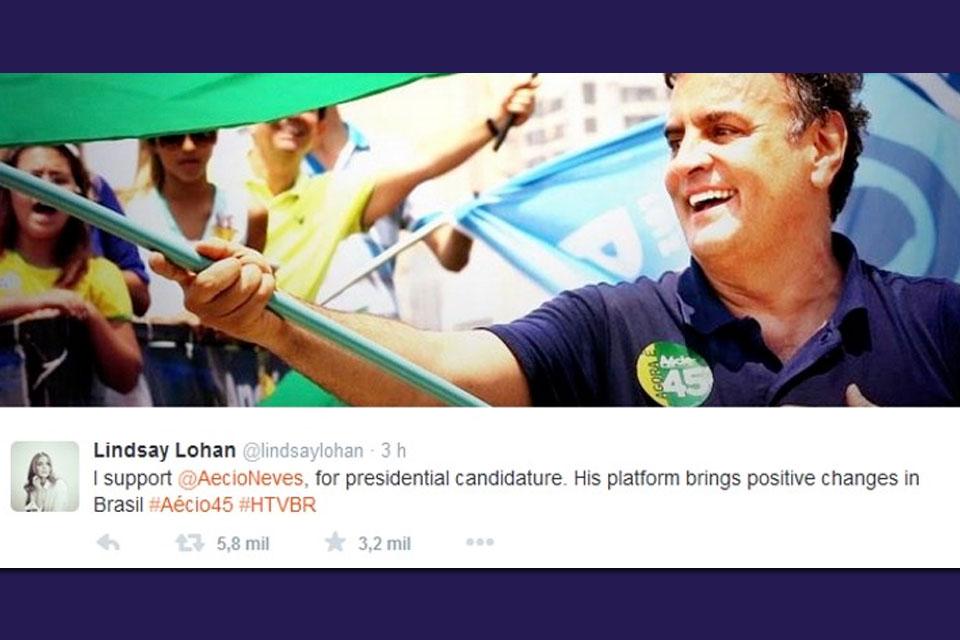 Imagem de Atriz Lindsay Lohan publica tweet para apoiar candidatura de Aécio Neves no site TecMundo
