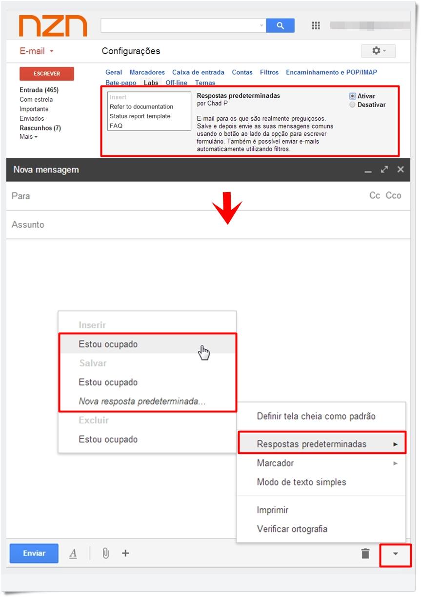 59847ca37 Digite quantas mensagens prontas quiser. (Fonte da imagem  Reprodução Gmail)