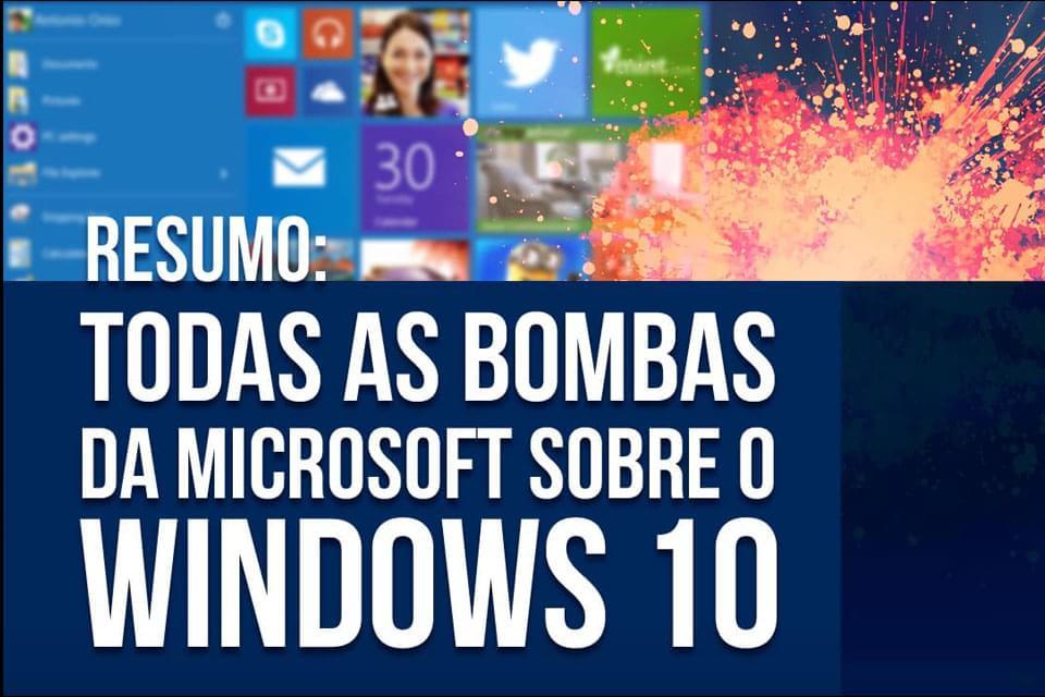 Imagem de Resumo: todas as bombas da Microsoft sobre o Windows 10 no site TecMundo