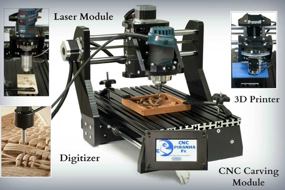 Imagem de CNC Piranha Fx une impressora 3D, entalhadora, gravadora a laser e mais no site TecMundo