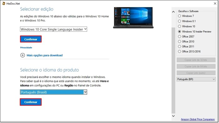 Ferramenta de download do Microsoft Windows e do Office ISO