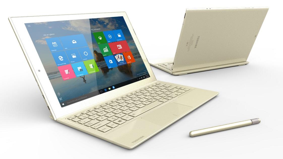 Um notebook da Toshiba.