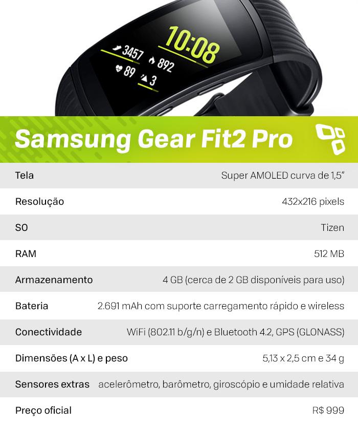 Especificações Gear Fit 2 Pro