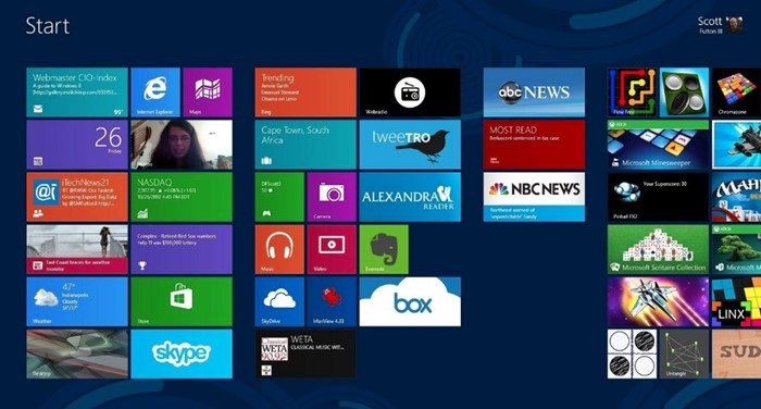 A tela Iniciar do Windows 8.