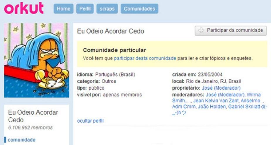 Uma comunidade do Orkut.