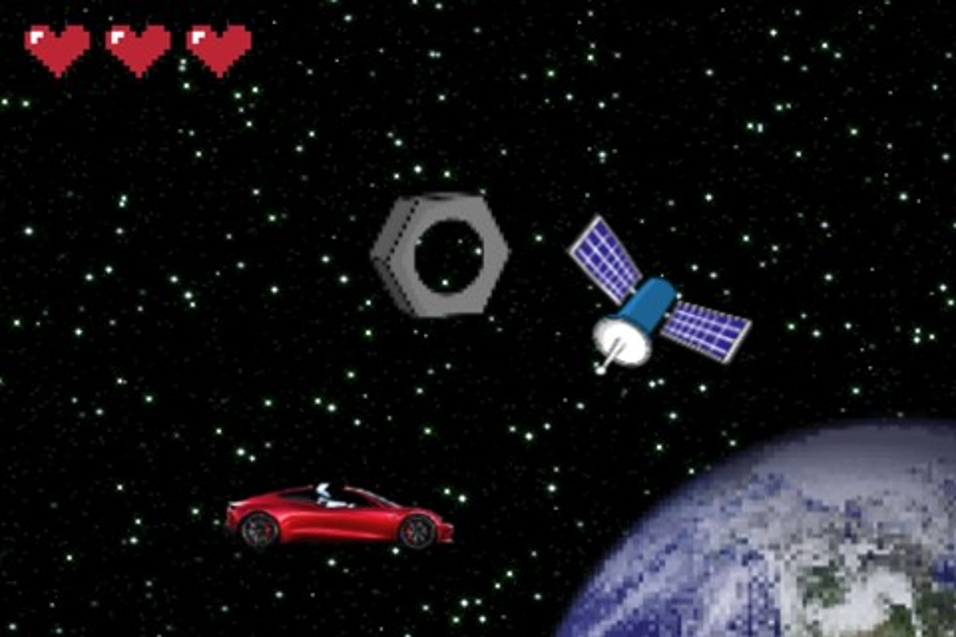 Imagem de Carro que Elon Musk mandou para o espaço vira jogo de video game retrô no tecmundo