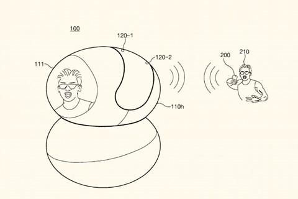 """Imagem de Patente revela smart speaker Samsung Bixby com """"cabeça"""" que gira e câmera no tecmundo"""