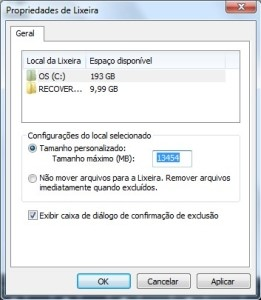 Lixeira do Windows Vista